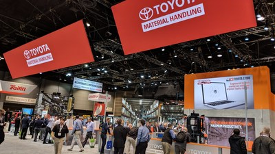 Electrovaya battery systems in the Toyota booth at ProMat 2019 (CNW Group/Electrovaya Inc.)