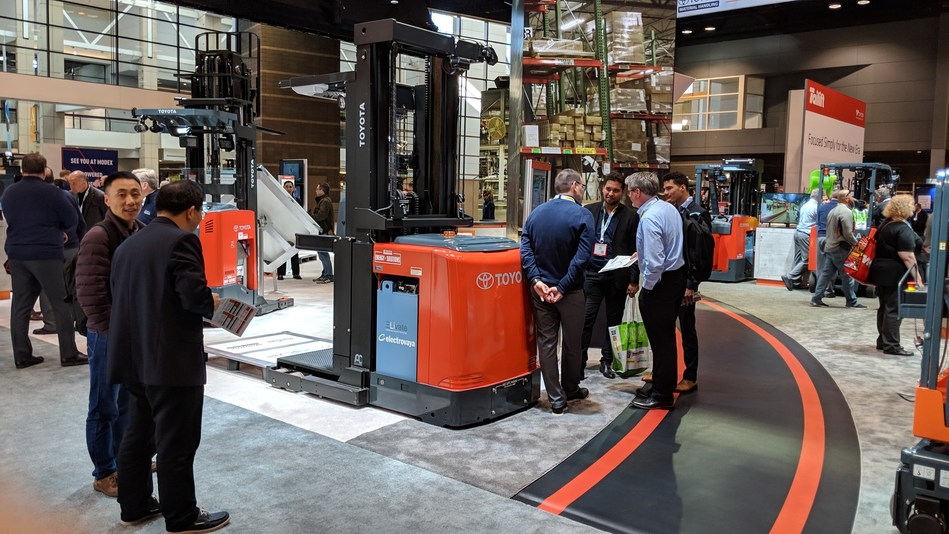Electrovaya - Elivate battery system in a Toyota forklift truck in the Toyota booth at ProMat 2019 (CNW Group/Electrovaya Inc.)
