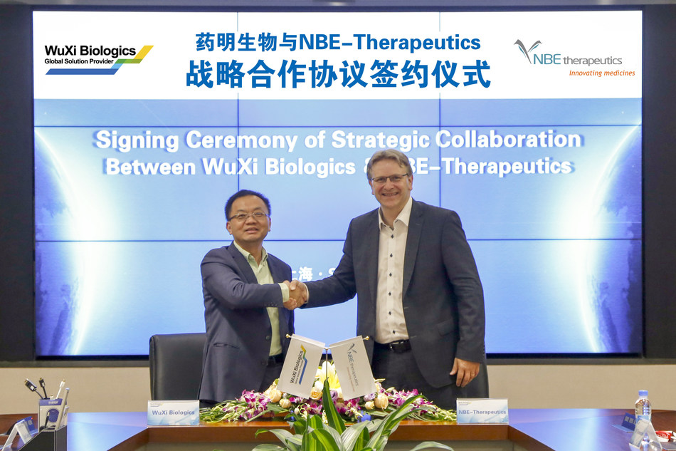 From left to right: Dr. Chris Chen, CEO of WuXi Biologics and Dr. Ulf Grawunder, CEO of NBE-Therapeutics