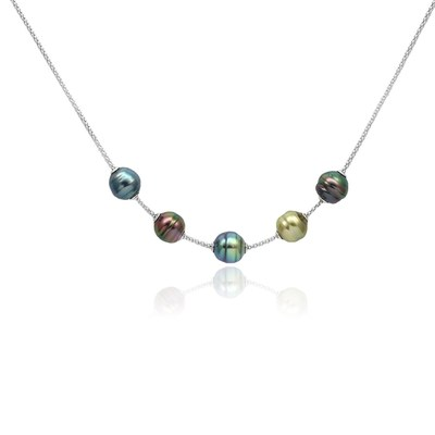 Necklace with circled Tahitian pearls in peacock colours by Gyso Pearls & Jewellery Ltd