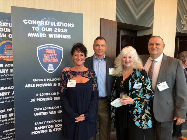 Michele Eckert, Joe Singleton, Joelle Behrens, and Chuck Ware accept American Moving and Storage Association Award for Fleet Safety on March 25th in Houston, Texas. Able enjoys the opportunity to bring recognition to the many employees that make it a special company to work for and thanks the American Moving and Storage Association for its industry representation.