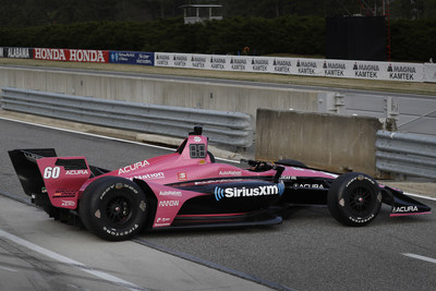 The #60 Meyer Shank Racing IndyCar driven by Jack Harvey will feature Acura badging this weekend to mark the company's debut as title sponsor of the Acura Grand Prix of Long Beach.