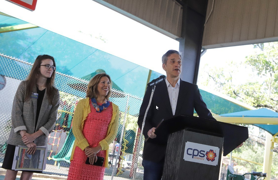Pictured right to left: Dr. Cris Eugster, CPS Energy Chief Operating Officer, Shirley Gonzales, San Antonio District 5 Councilwoman, Emma Pabst, Environment Texas.