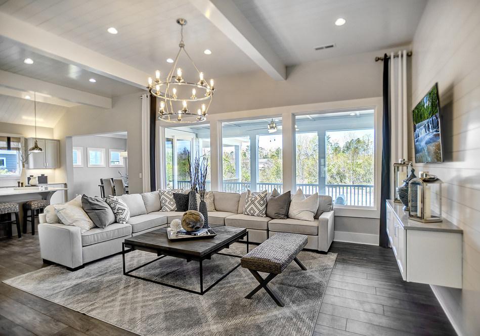 Great Room in the new Heritage D Schumacher Homes model home in Wilmington, NC. Photo by John Brooker- Fisheye Studios.