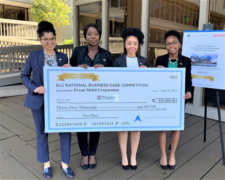 A team of MBA students from the Wharton School at the University of Pennsylvania took First Place in The Executive Leadership Council's 2019 National Business Case Competition, winning a $35,000 cash award. The team included (l-r) Angie Gonzales, Team Captain Oluwayimika (Yinka) Taiwo-Peters, Mallory Smith and Kaila Squires. Exxon Mobil Corporation has sponsored the competition for the last 10 years.