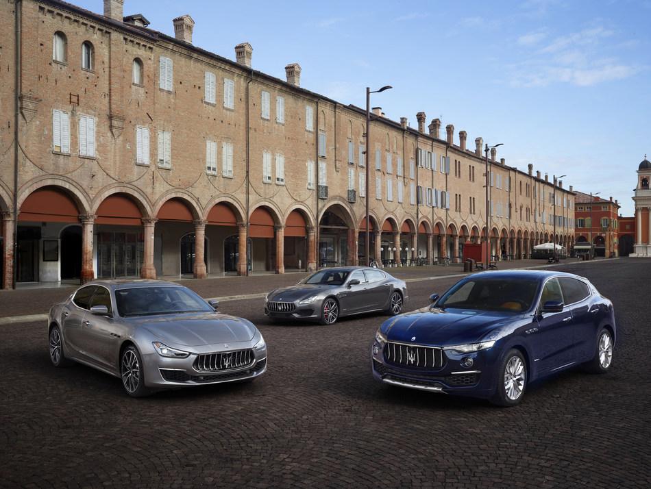 Maserati MY19 Range (left to right) Ghibli, Quattroporte, Levante
