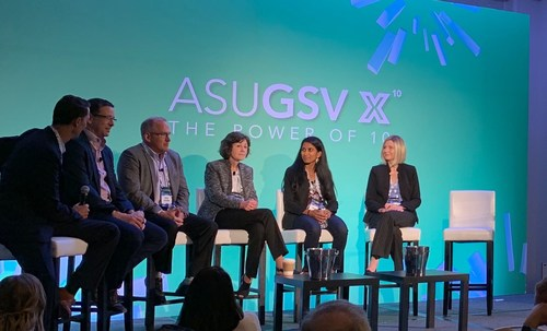 Ed Hidalgo, Chief Innovation and Engagement Officer, Cajon Valley Union School District (left) and Chris Mackey, Senior VP and GM of Innovation Labs, The Myers-Briggs Company (second from left) on the speaker panel Preparing Students for the Current and Future World of Work: A Comprehensive K12 Solution during the ASU GSV Conference in San Diego, CA.