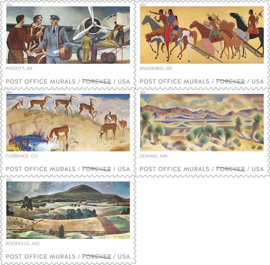 Depression era Post Office Murals now on sale as Stamps.