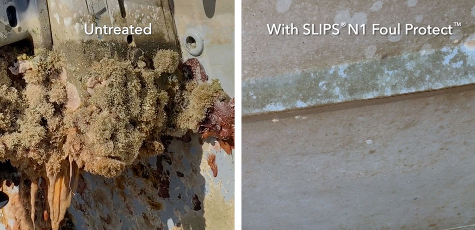 Untreated surface vs. SLIPS® Foul Protect™ N1 treated surface