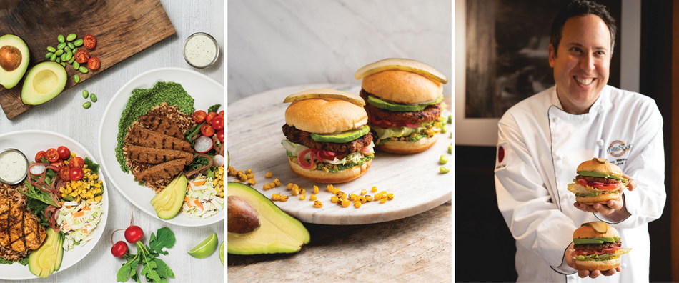 Pictured (L-R): White Spot's Southwest Power Bowls, Avocado Beyond Burger, White Spot Executive Chef Danny Markowicz. (CNW Group/White Spot Restaurants)
