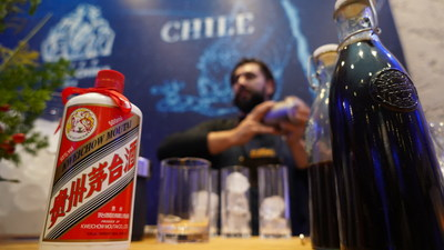 A bartender mixing up some Moutai-based cocktails