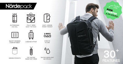 NÖRDEPACK's Versatile Travel + Work Multi-functional Bag with Over 30 features, 100% Funded in Less Than 24 Hours on Kickstarter
