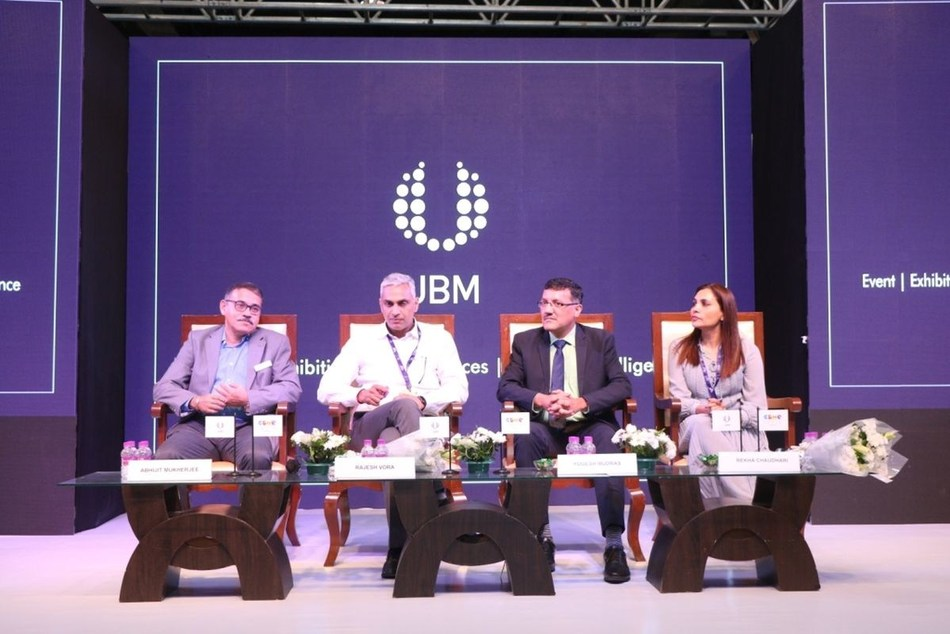 (L - R)  Mr. Abhijit Mukherjee, Group Director UBM India Pvt. Ltd.; Mr. Rajesh Vora, Managing Director, Chicco; Mr. Yogesh Mudras, Managing Director, UBM India Pvt. Ltd. and  Ms. Rekha Chaudhari, Global Wellness Ambassador of India and Managing Director, One Line Wellness Pvt. Ltd. at the inaugural ceremony of CBME India 2019 (PRNewsfoto/UBM India Pvt. Ltd.)