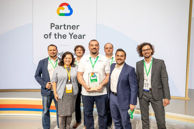 The EPAM team receives the 2018 Google Cloud North American Breakthrough Partner of the Year Award. From left to right (front): Elaina Shekhter, Chief Marketing Officer; Denys Metelenko, Senior Service Delivery Manager; Anton Tomchenko, VP, Co-Head NA/West; Arseny Gorokh, Senior Director, Account Management; (back) Yury Trushkov, Senior Director, Delivery Management; Aliaksei Sidarenka, Senior Marketing Manager; Mikhail Bykau, Senior Project Manager.