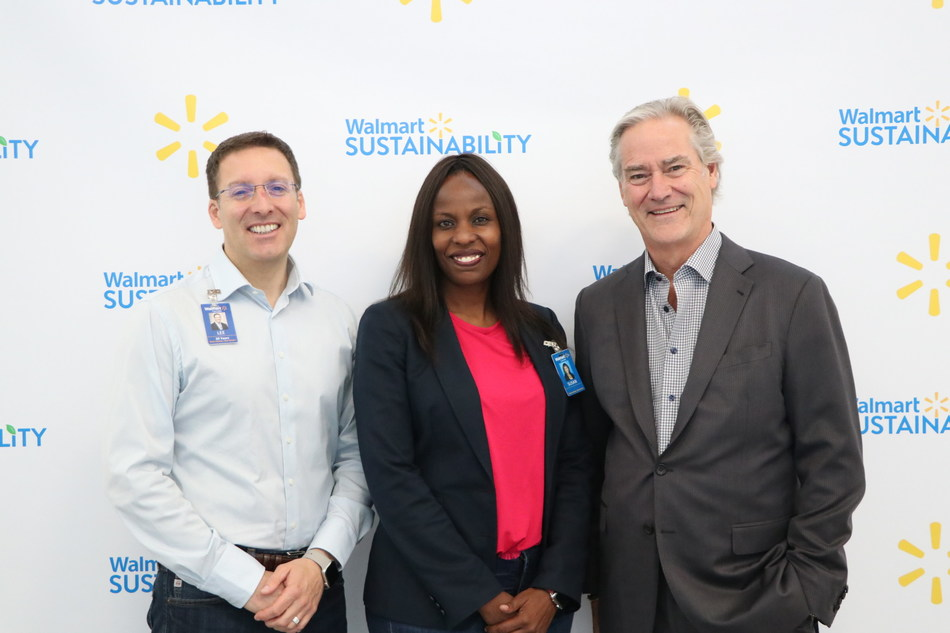 Lee Tappenden, President and CEO, Walmart Canada, Susan Muigai, EVP, Human Resources & Corporate Affairs, Walmart Canada and Michael McCain, President and CEO, Maple Leaf Foods, meet at Walmart's Store Support Centre in Mississauga, ON to launch Project Gigaton – a Walmart-led initiative to avoid one billion metric tonnes of greenhouse gas emissions from the global value chain by 2030. (CNW Group/Walmart Canada)