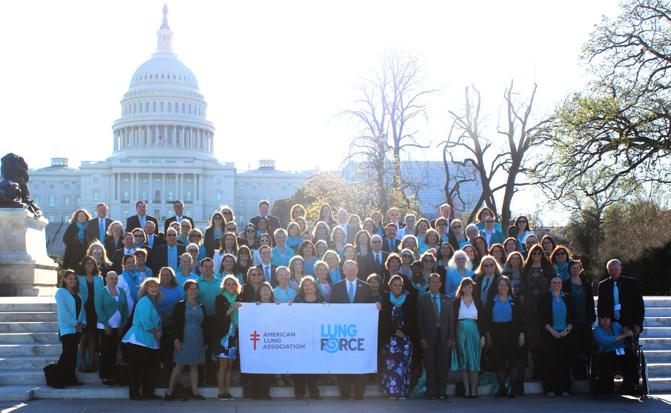 Lung cancer patients from every state join the American Lung Association at Capitol Hill for LUNG FORCE Advocacy Day on April 10, 2019, to ask Congress for lung cancer research funding and healthcare protections for patients. (PRNewsfoto/American Lung Association)