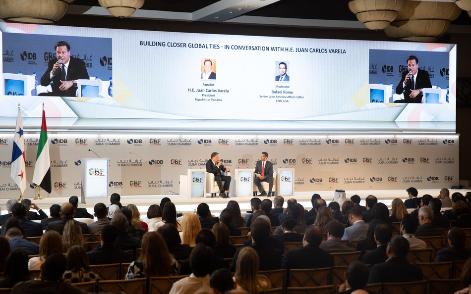 Panamanian President Juan Carlos Varela speaks during GBF Latin America - Panama 2019
