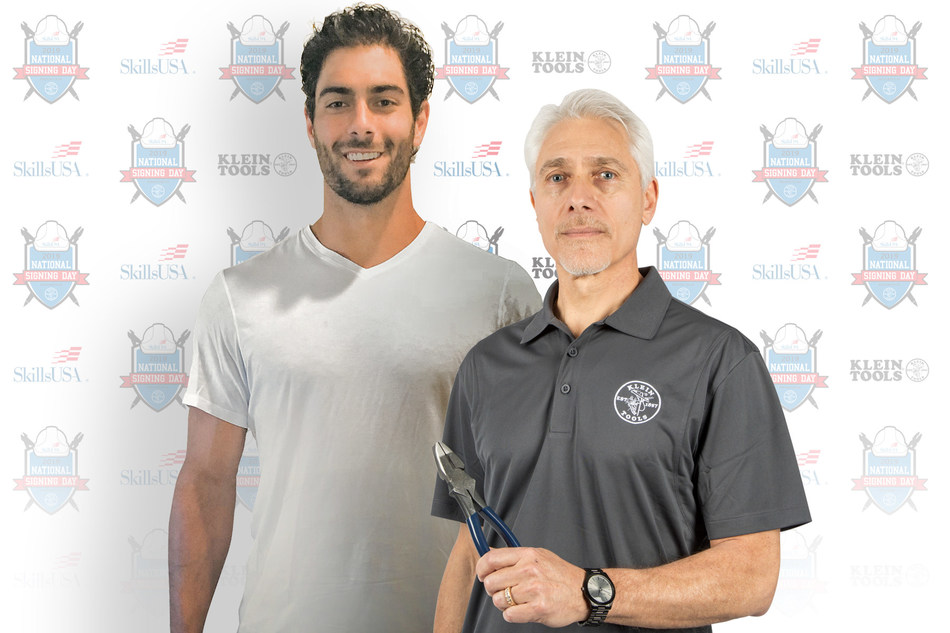 NFL Quarterback Jimmy Garoppolo and his father, Tony Garoppolo, a recently retired career electrician, sign on to participate in SkillsUSA and Klein Tools first-ever National Signing Day on May 8, 2019