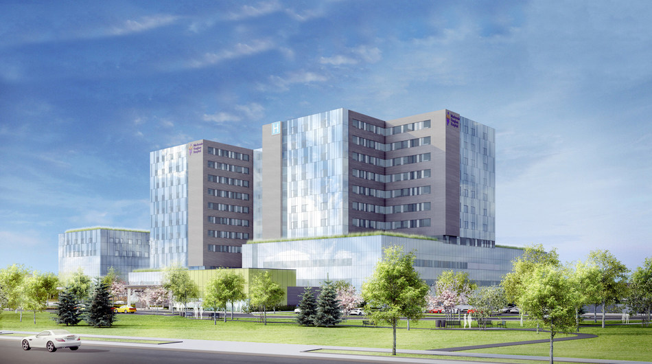 Architectural rendering reflecting current design concepts for the new Mackenzie Vaughan Hospital.  www.flexhealth.ca (CNW Group/FlexITy Solutions Inc.)