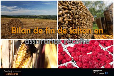 Bilan de fin de saison en assurance récolte (Groupe CNW/La Financière agricole du Québec)
