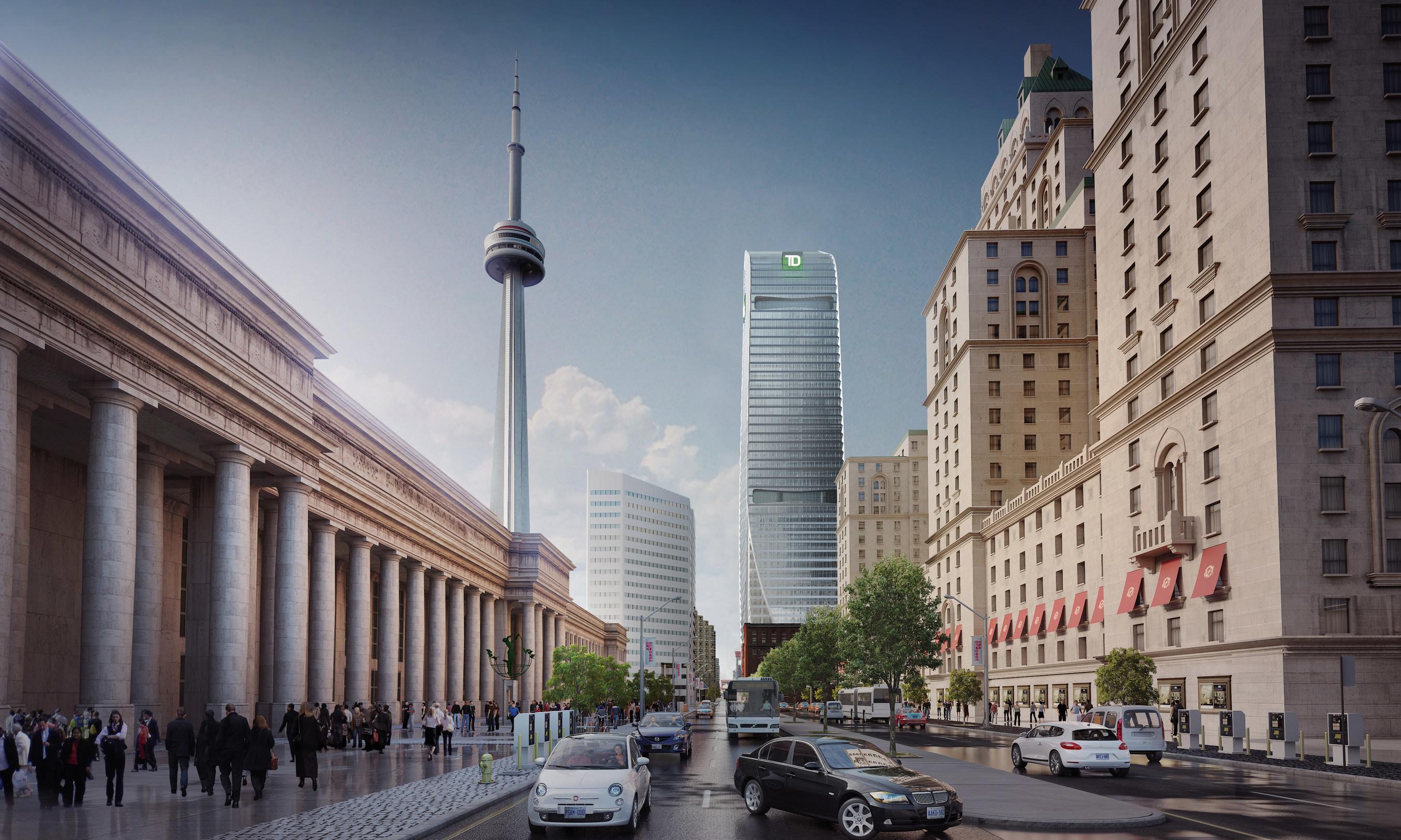 Cadillac Fairview et la Société ontarienne de gestion des placements accueillent le Groupe Banque TD dans leur prestigieux immeuble du 160 Front Street West (Groupe CNW/Cadillac Fairview)