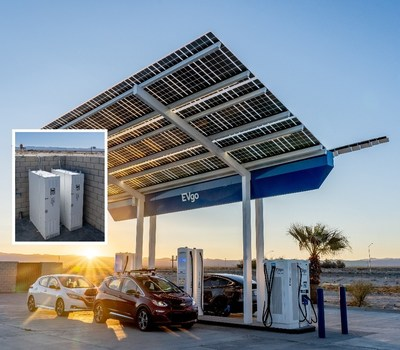 EVgo's fast charging station at the at the World's Tallest Thermometer includes a total of six fast chargers under a solar-powered canopy — two 50 kW fast chargers, two super-fast 150 kW chargers, one super-fast 175 kW charger, and an ultra-fast 350 kW charger, all backed up with second-life batteries for energy storage. (Baker, CA); Photo credit: EVgoaar