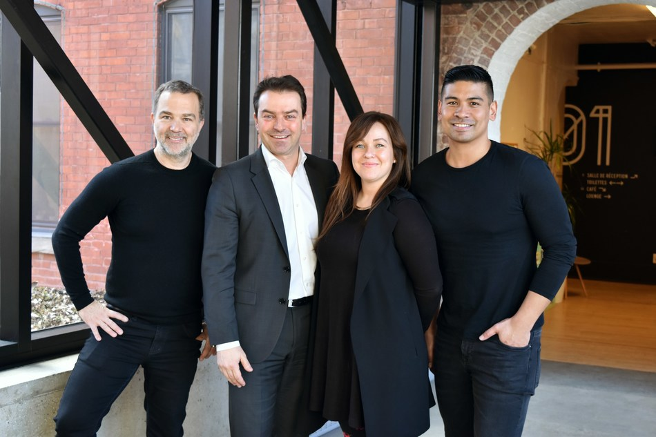 From left to right: Patrick Gagné, CEO, OSMO; Frank Kollmar, Président & CEO, L'Oreal Canada; Valérie Forget, Director Programs, OSMO; Robert Beredo, CDO, L'Oreal Canada. (CNW Group/L'Oréal Canada Inc.)