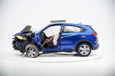"Honda ""Crashes"" New York International Auto Show with 2019 HR-V. Image Courtesy of the Insurance Institute for Highway Safety (IIHS)."