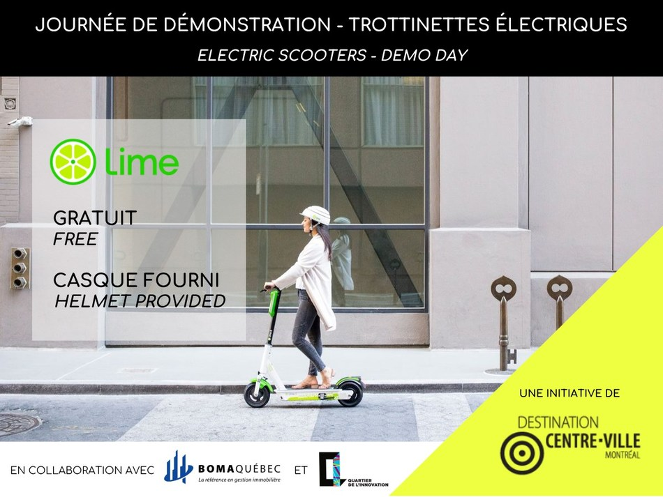 Destination Centre-Ville and Lime organize a week safety and awareness for the use of electric scooters in downtown Montreal (CNW Group/Société de développement commercial - Destination Centre-Ville)