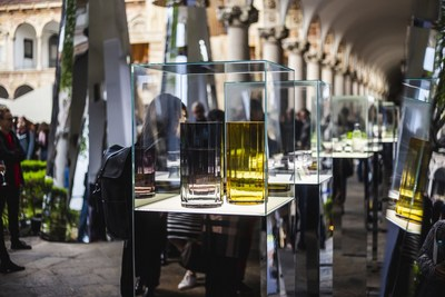 "Polish glass icon KROSNO shines bright in Milan Exposition ""Sakred Geometry"" within the framework of Fuorisalone. (PRNewsfoto/KROSNO)"