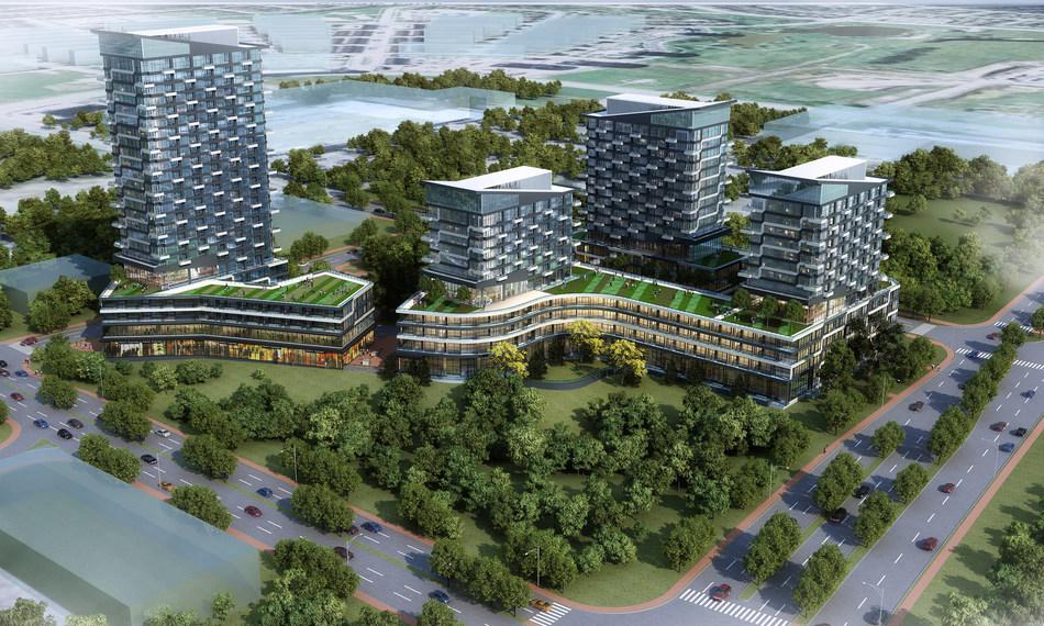 Oak & Co. – Cortel Group's 4-building condo development at Trafalgar Road and Dundas Street East in Oakville. (CNW Group/Cortel Group)