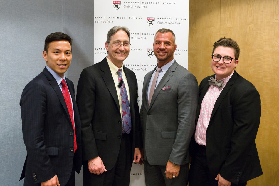 """From left, Kelsey Louie, Chief Executive Officer, Gay Men's Health Crisis, Inc. (GMHC); Professor Herman B. """"Dutch"""" Leonard, HBS; Mike Rogers, Senior Vice President of Development, GMHC; Cameron Gaynor, Development & Events Manager, GMHC."""
