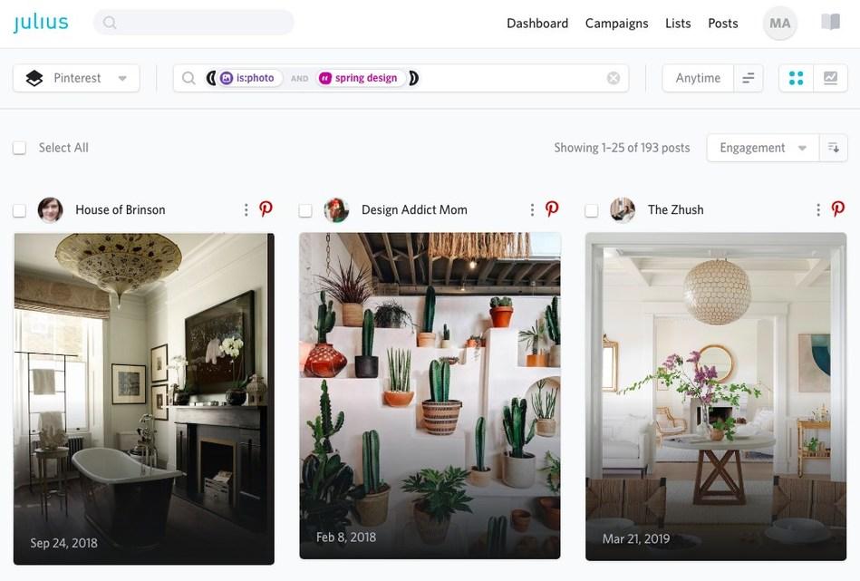 Pinterest Spring Design Results on the Julius Influencer Marketing Platform