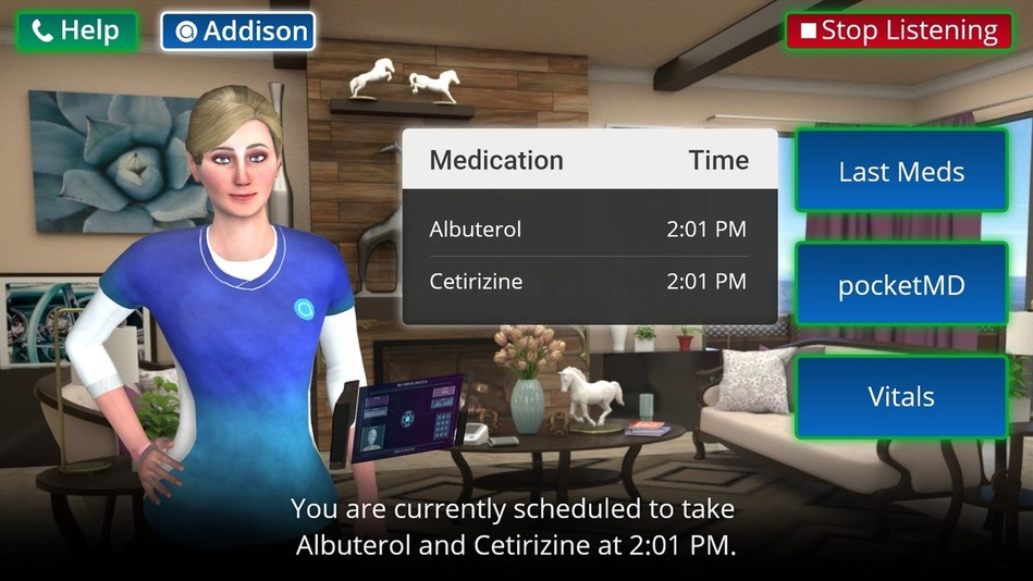 The World's First Virtual Caregiver - Addison, of Addison Care, guides a client through medication management.