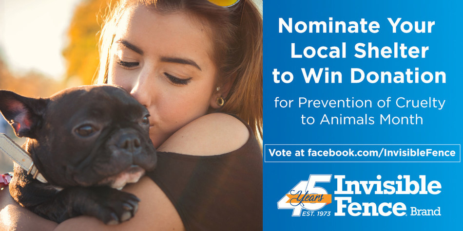 To raise awareness for Prevention of Animal Cruelty Month, Invisible Fence® Brand is hosting a national contest to raise awareness for animal cruelty and promote local adoptions. Help make a difference and nominate your local shelter!