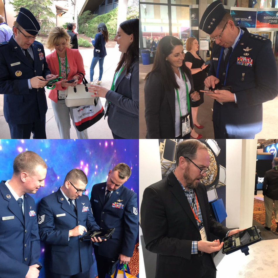 Space operators at the 35th Space Symposium in Colorado Springs, Colo., test the Black Horizon app developed by the Blue Horizons program at the U.S. Air Force's Air University. Photo courtesy of Maj. Christina Light.