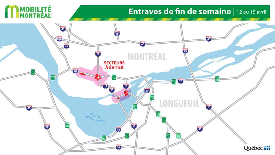Carte générale des entraves, fin de semaine du 12 au 15 avril (Groupe CNW/Ministère des Transports)