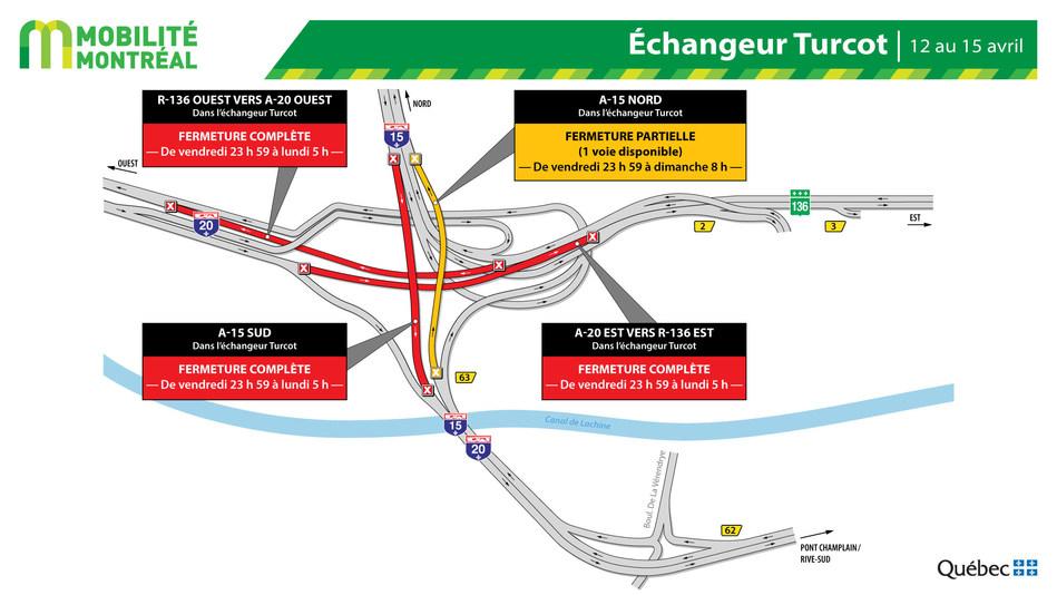 Fermetures de bretelles dans l'échangeur Turcot, fin de semaine du 12 au 15 avril (Groupe CNW/Ministère des Transports)