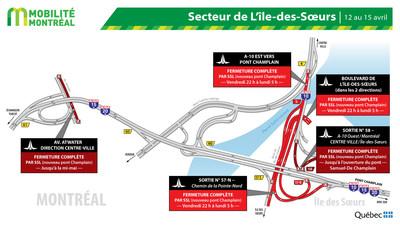 Fermetures secteur Île des Sœurs / pont Champlain, fin de semaine du 12 au 15 avril (Groupe CNW/Ministère des Transports)