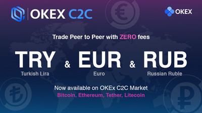 OKEx élargit sa plateforme de négociation C2C aux marchés européens avec l'introduction de nouvelles devises, soit l'euro (EUR), la livre turque (TRY) et le rouble russe (RUB)