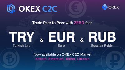 Com novas moedas ? euro (EUR), lira turca (TRY) e rublo russo (RUB) ? OKEx amplia negociação C2C para mercados europeus