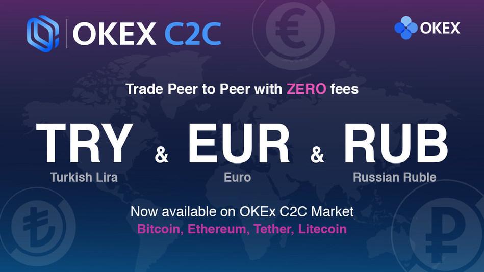 Com novas moedas – euro (EUR), lira turca (TRY) e rublo russo (RUB) – OKEx amplia negociação C2C para mercados europeus