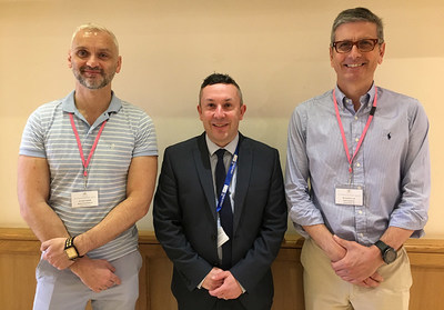 (Left to right) Dylan Costello, Royal College of Ophthalmologists Head of Examinations, Grahame Wood, HS-UK National Sales Manager, Mr Jonathan Luck, Consultant Ophthalmologist and Royal College of Ophthalmologists Senior Examiner