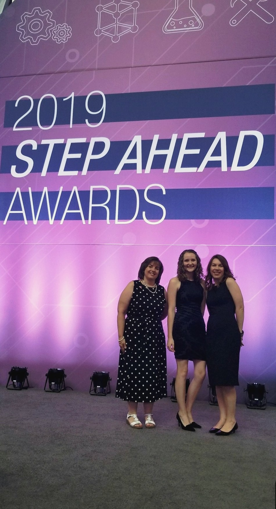 """Covestro employees Susan Dadd (left), Katherine Hoerner (center) and Stephanie Strazisar (right) were honored as """"Women in Manufacturing STEP Ahead"""" recipients during the seventh annual awards ceremony, held April 11 in Washington, D.C."""