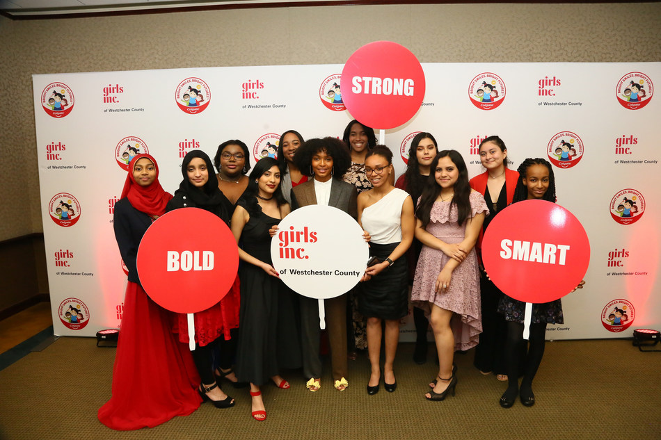 Girls Inc. of Westchester County participants welcome actress Yara Shahidi, center, to the organization's annual gala. Founded in 2007, Girls Inc. Westchester provides girls ages 9-18 with a place where they feel physically and emotionally safe, trained professionals who mentor and guide them, and peer groups that help them to feel supported, valued and confident (Photo credit: Stuart Ramson/APImages for Girls Inc. of Westchester County).
