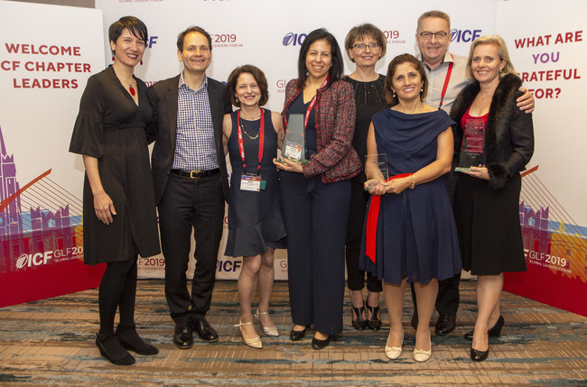 The ICF Foundation presented its 2018 Gift of Coaching Awards during a March 22, 2019, awards banquet at the ICF Global Leaders Forum in Dublin, Ireland.