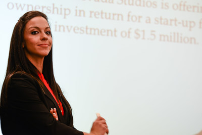 Sierra Nevada College Student pitches team plan for annual business plan competition.