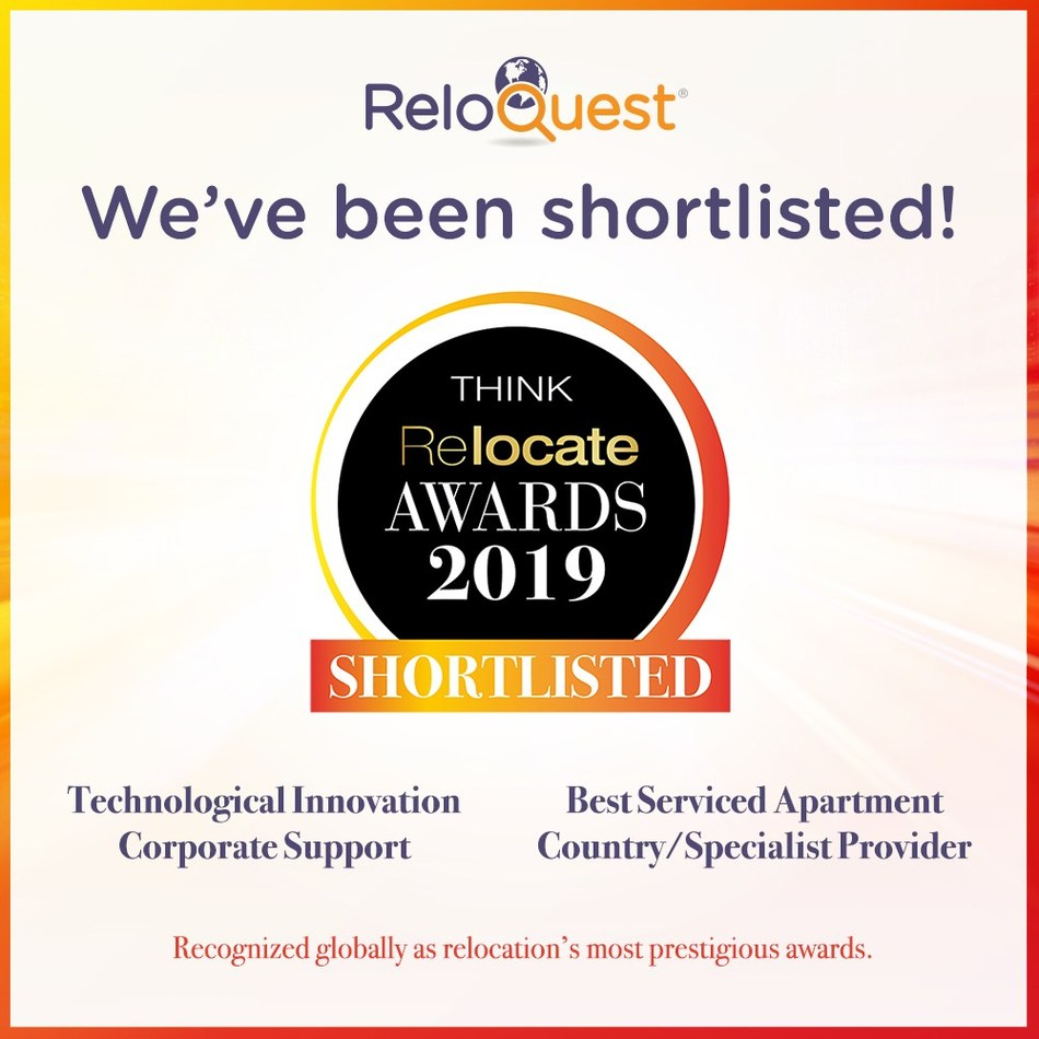 ReloQuest shortlisted by Relocate Global in two categories; Best Serviced Apartment Country/Specialist Provider, and Best Technological Innovation, Corporate Support.