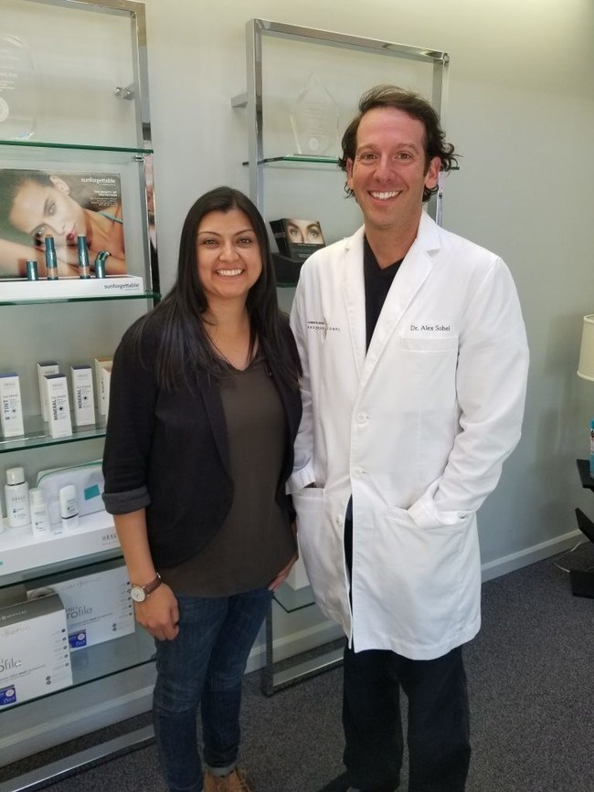 Dr. Alex Sobel with 2017 scholarship recipient, Angela Flores-Marcus