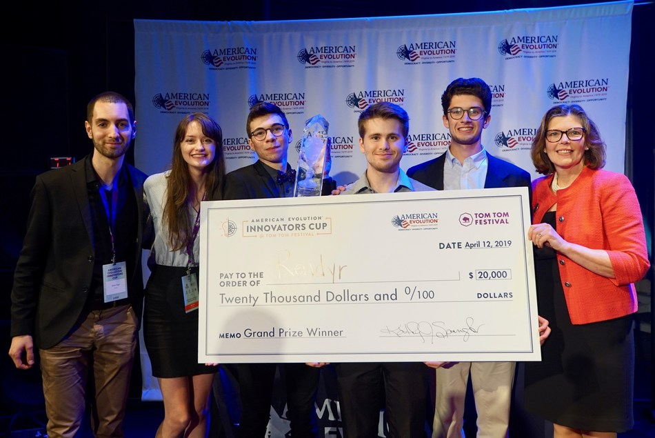 From left to right - Members of the Rendyr team Martin Angst, Callan McGill, Kaelum Hasler, Liam Lawrence, Reid Holbert and American Evolution Executive Director Kathy Spangler at the American Evolution Innovators Cup.